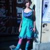 Kleid mit Wasserfallrüschen